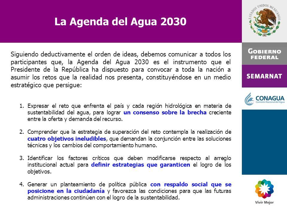 Siguiendo deductivamente el orden de ideas, debemos comunicar a todos los participantes que, la Agenda del Agua 2030 es el instrumento que el Presiden