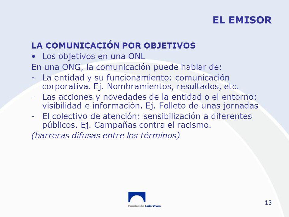 13 EL EMISOR LA COMUNICACIÓN POR OBJETIVOS Los objetivos en una ONL En una ONG, la comunicación puede hablar de: -La entidad y su funcionamiento: comu