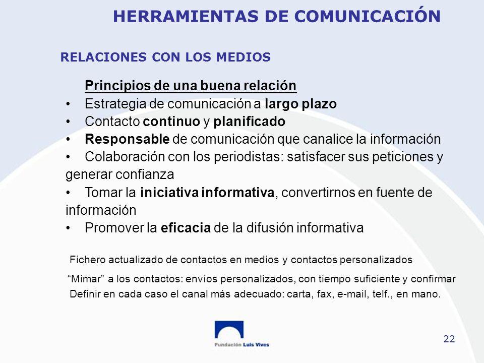 22 Principios de una buena relación Estrategia de comunicación a largo plazo Contacto continuo y planificado Responsable de comunicación que canalice