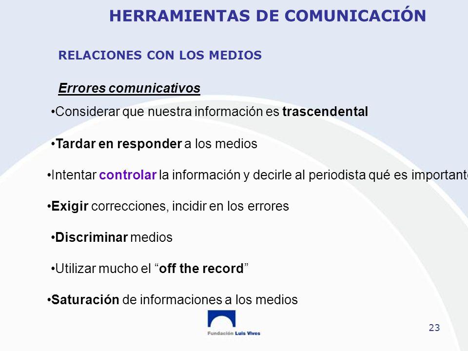 23 Errores comunicativos Considerar que nuestra información es trascendental Tardar en responder a los medios Intentar controlar la información y deci