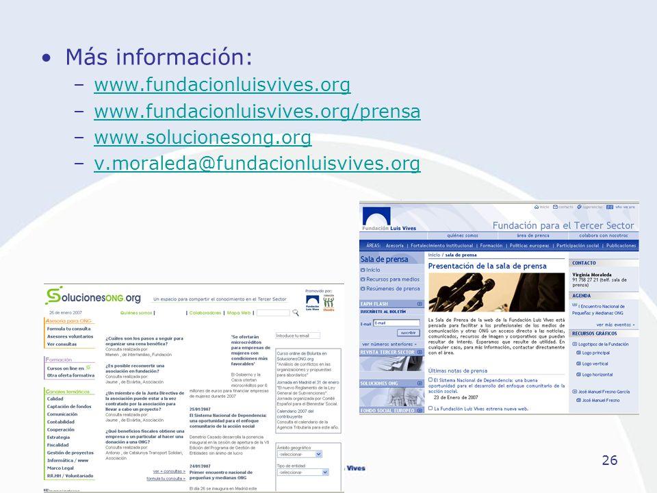 26 Más información: –www.fundacionluisvives.orgwww.fundacionluisvives.org –www.fundacionluisvives.org/prensawww.fundacionluisvives.org/prensa –www.sol