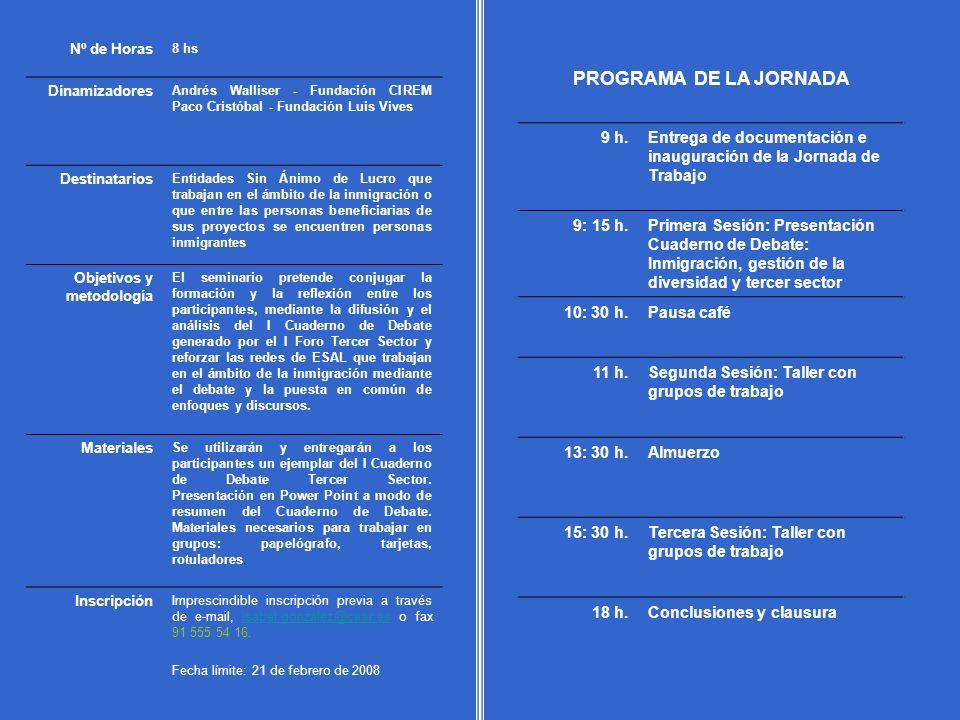 PROGRAMA DE LA JORNADA 9 h.Entrega de documentación e inauguración de la Jornada de Trabajo 9: 15 h.Primera Sesión: Presentación Cuaderno de Debate: I