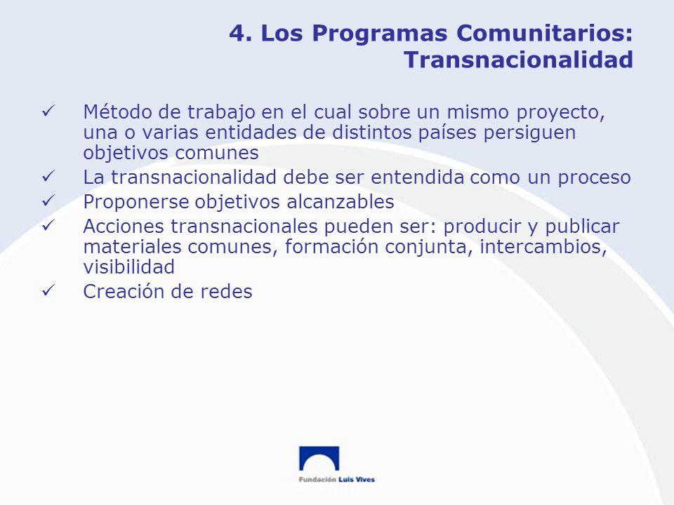 4. Los Programas Comunitarios: Transnacionalidad Método de trabajo en el cual sobre un mismo proyecto, una o varias entidades de distintos países pers