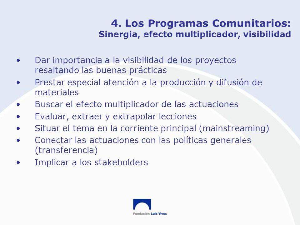 4. Los Programas Comunitarios: Sinergia, efecto multiplicador, visibilidad Dar importancia a la visibilidad de los proyectos resaltando las buenas prá