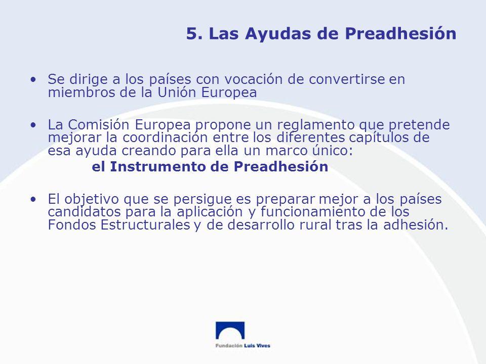 5. Las Ayudas de Preadhesión Se dirige a los países con vocación de convertirse en miembros de la Unión Europea La Comisión Europea propone un reglame