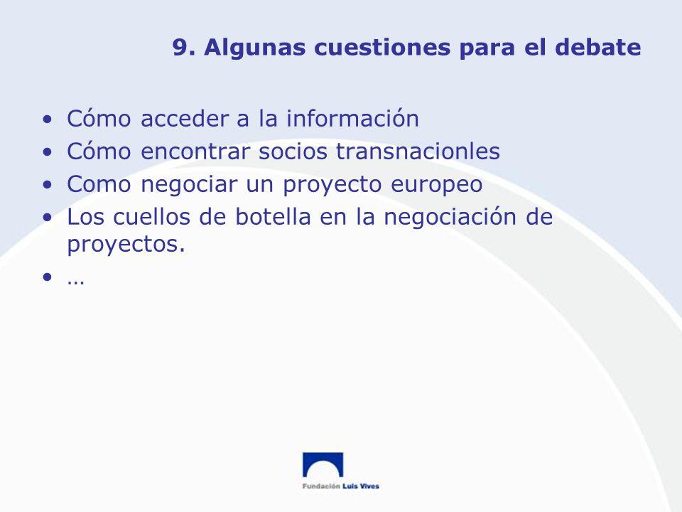 9. Algunas cuestiones para el debate Cómo acceder a la información Cómo encontrar socios transnacionles Como negociar un proyecto europeo Los cuellos