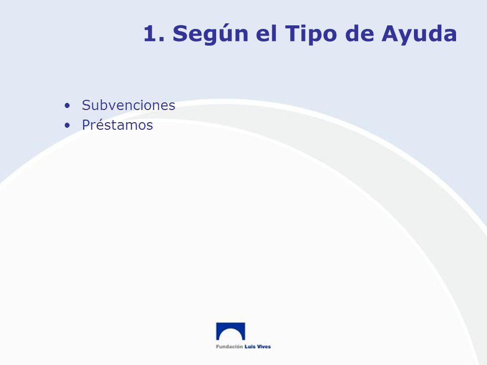1. Según el Tipo de Ayuda Subvenciones Préstamos