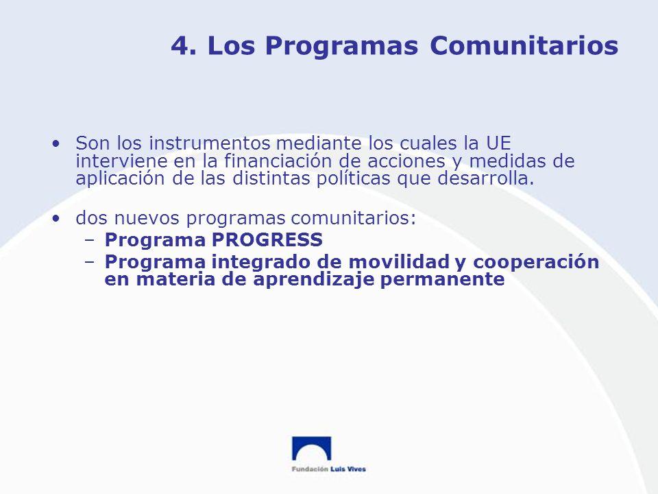 4. Los Programas Comunitarios Son los instrumentos mediante los cuales la UE interviene en la financiación de acciones y medidas de aplicación de las