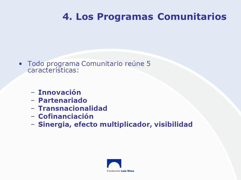 4. Los Programas Comunitarios Todo programa Comunitario reúne 5 características: –Innovación –Partenariado –Transnacionalidad –Cofinanciación –Sinergi