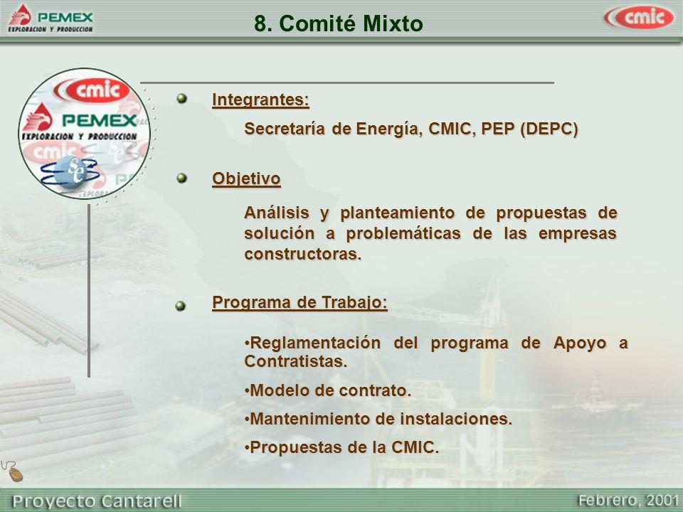 8. Comité Mixto Secretaría de Energía, CMIC, PEP (DEPC) Objetivo Análisis y planteamiento de propuestas de solución a problemáticas de las empresas co