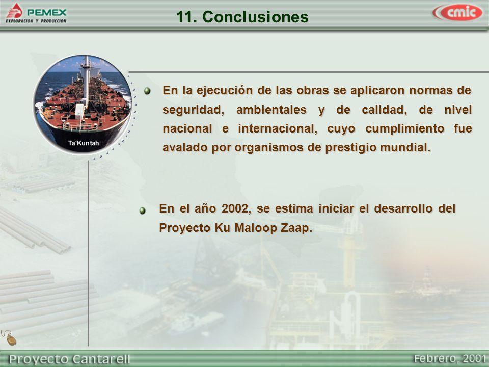 11. Conclusiones En la ejecución de las obras se aplicaron normas de seguridad, ambientales y de calidad, de nivel nacional e internacional, cuyo cump