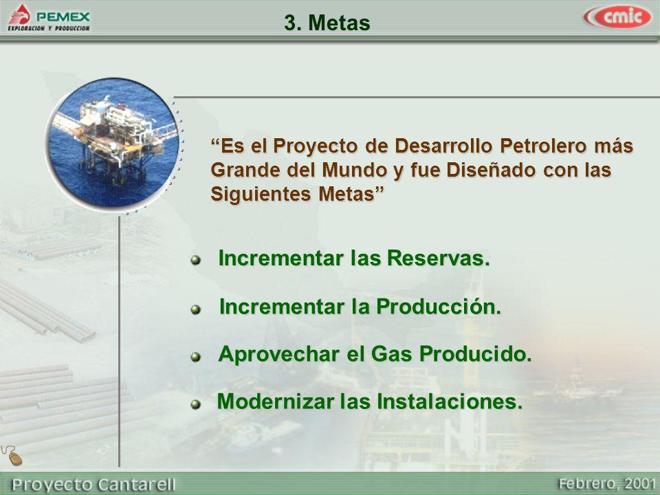 3. Metas Modernizar las Instalaciones. Es el Proyecto de Desarrollo Petrolero más Grande del Mundo y fue Diseñado con las Siguientes Metas Incrementar
