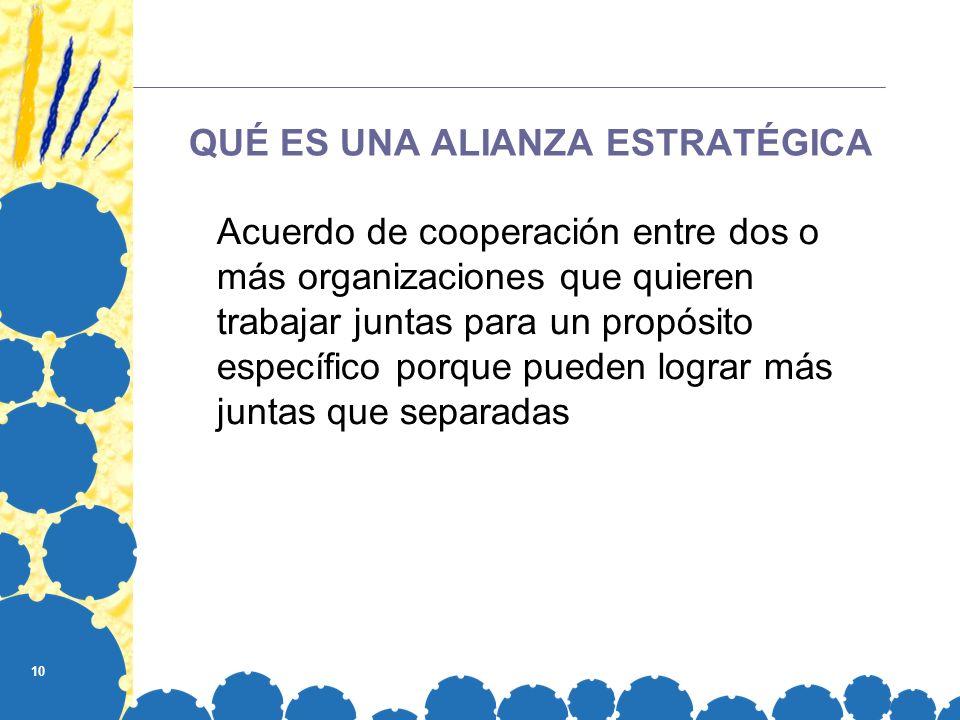 10 QUÉ ES UNA ALIANZA ESTRATÉGICA Acuerdo de cooperación entre dos o más organizaciones que quieren trabajar juntas para un propósito específico porqu