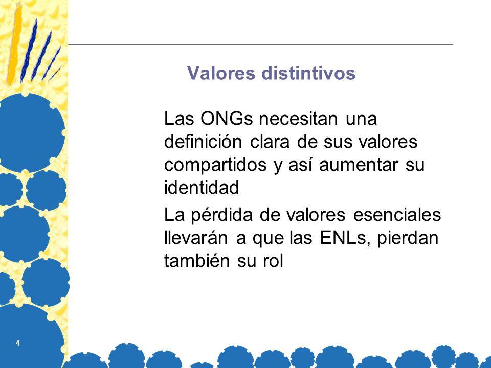 4 Valores distintivos Las ONGs necesitan una definición clara de sus valores compartidos y así aumentar su identidad La pérdida de valores esenciales