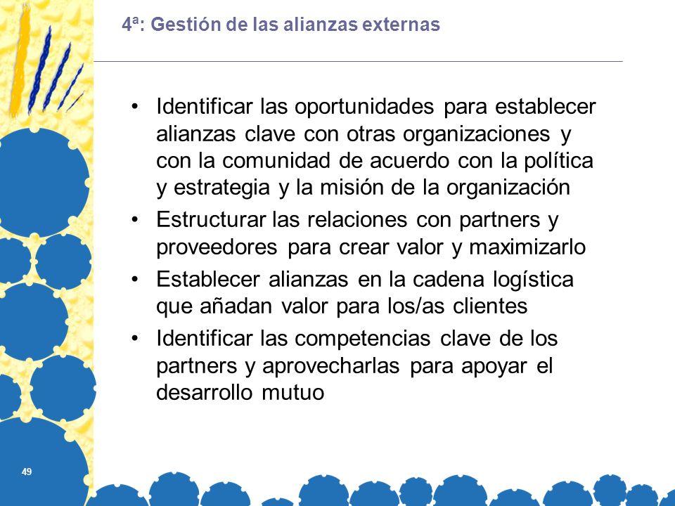 49 4ª: Gestión de las alianzas externas Identificar las oportunidades para establecer alianzas clave con otras organizaciones y con la comunidad de ac