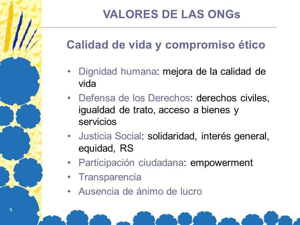 5 Calidad de vida y compromiso ético Dignidad humana: mejora de la calidad de vida Defensa de los Derechos: derechos civiles, igualdad de trato, acces