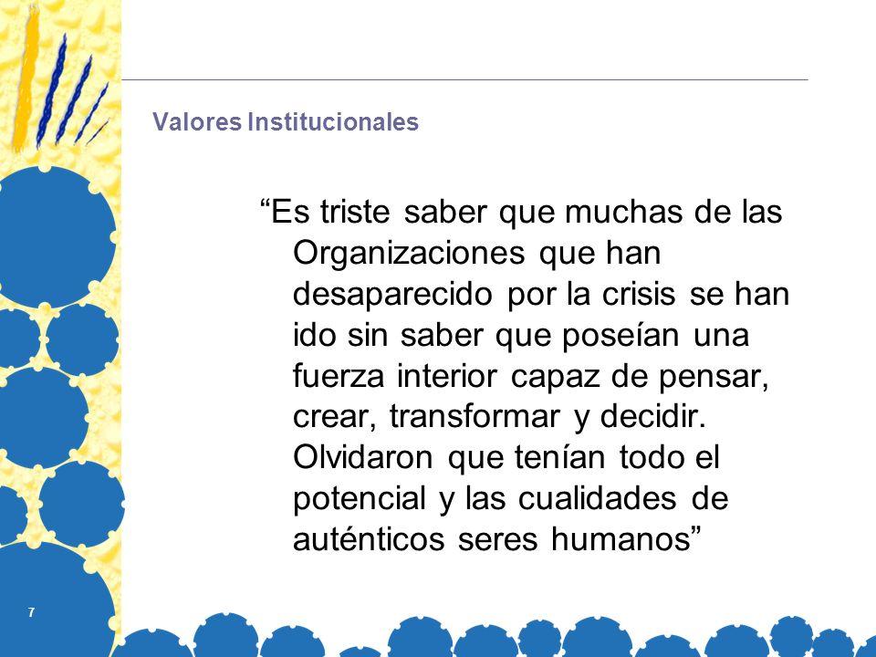 7 Valores Institucionales Es triste saber que muchas de las Organizaciones que han desaparecido por la crisis se han ido sin saber que poseían una fue