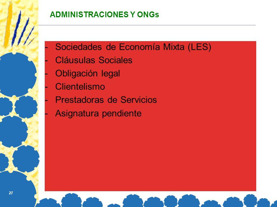 27 ADMINISTRACIONES Y ONGs -Sociedades de Economía Mixta (LES) -Cláusulas Sociales -Obligación legal -Clientelismo -Prestadoras de Servicios -Asignatura pendiente