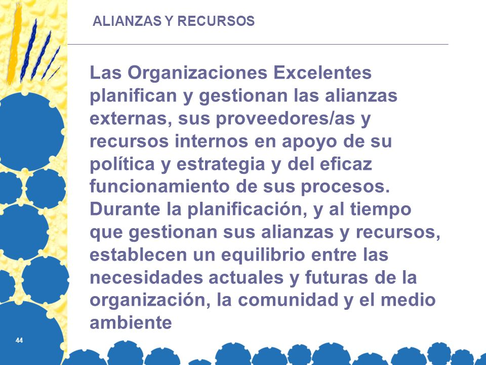 44 Las Organizaciones Excelentes planifican y gestionan las alianzas externas, sus proveedores/as y recursos internos en apoyo de su política y estrategia y del eficaz funcionamiento de sus procesos.