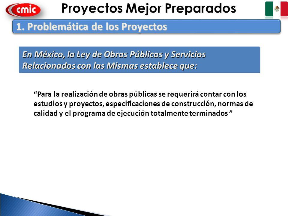 3 1. Problemática de los Proyectos En México, la Ley de Obras Públicas y Servicios Relacionados con las Mismas establece que: Para la realización de o