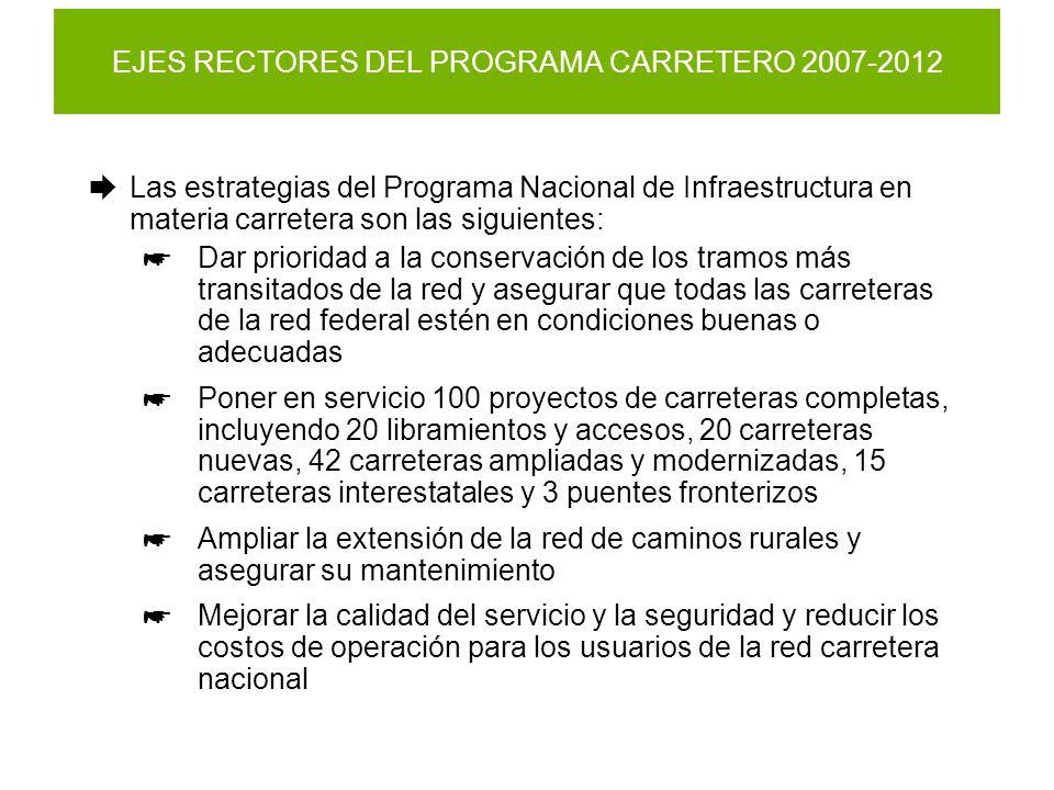 EJES RECTORES DEL PROGRAMA CARRETERO 2007-2012 Las estrategias del Programa Nacional de Infraestructura en materia carretera son las siguientes: Dar p