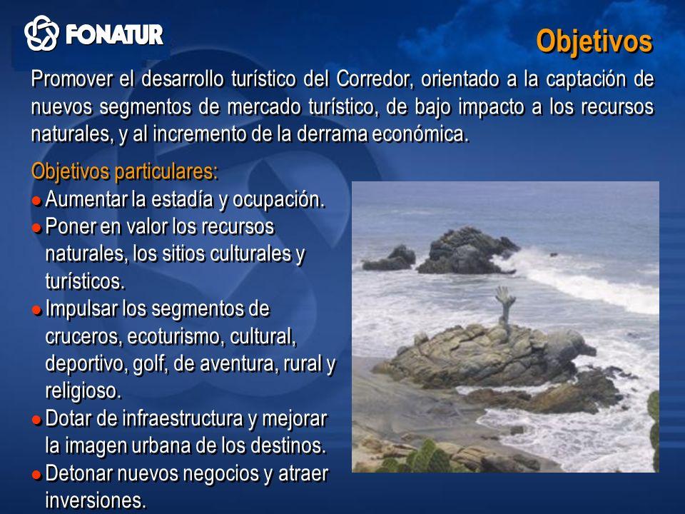 Promover el desarrollo turístico del Corredor, orientado a la captación de nuevos segmentos de mercado turístico, de bajo impacto a los recursos natur