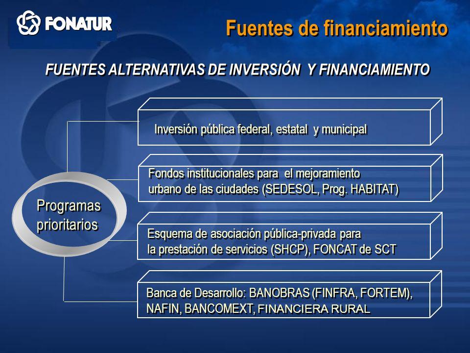 Fuentes de financiamiento FUENTES ALTERNATIVAS DE INVERSIÓN Y FINANCIAMIENTO Inversión pública federal, estatal y municipal Fondos institucionales par