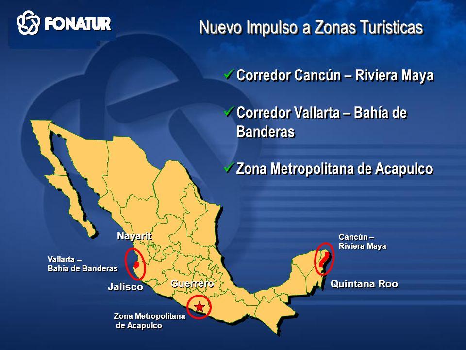 Quintana Roo Cancún – Riviera Maya Cancún – Riviera Maya Corredor Cancún – Riviera Maya Corredor Vallarta – Bahía de Banderas Zona Metropolitana de Ac