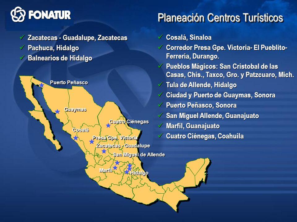 Hidalgo Puerto Peñasco Guaymas Cosalá San Miguel de Allende Marfil Zacatecas - Guadalupe Presa Gpe. Victoria Planeación Centros Turísticos Cuatro Cién