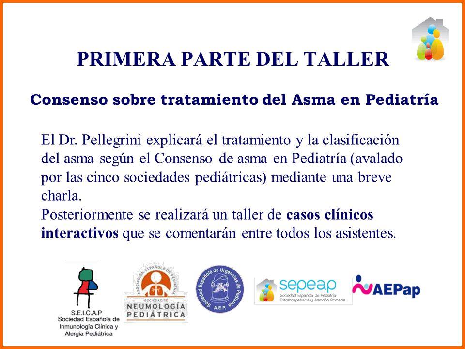 PRIMERA PARTE DEL TALLER El Dr. Pellegrini explicará el tratamiento y la clasificación del asma según el Consenso de asma en Pediatría (avalado por la