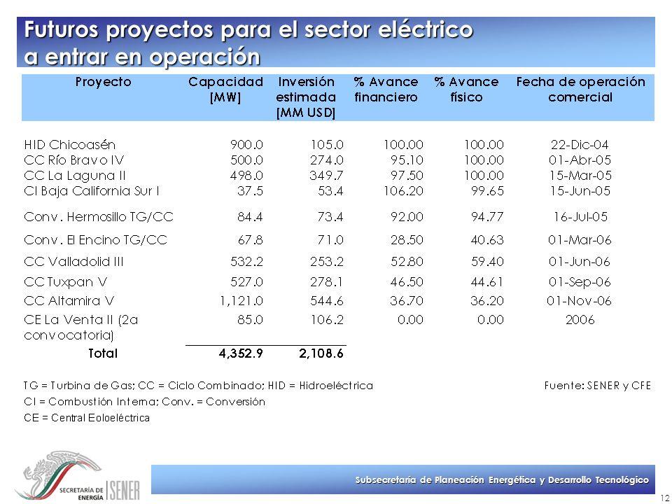 Subsecretaría de Planeación Energética y Desarrollo Tecnológico 12 Futuros proyectos para el sector eléctrico a entrar en operación