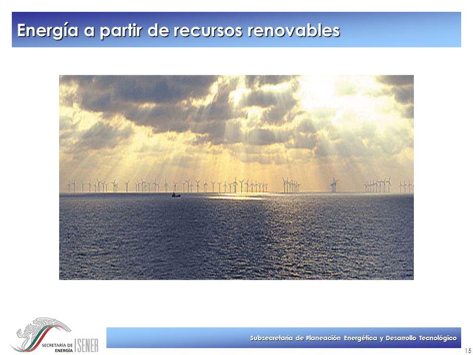 Subsecretaría de Planeación Energética y Desarrollo Tecnológico 15 Energía a partir de recursos renovables