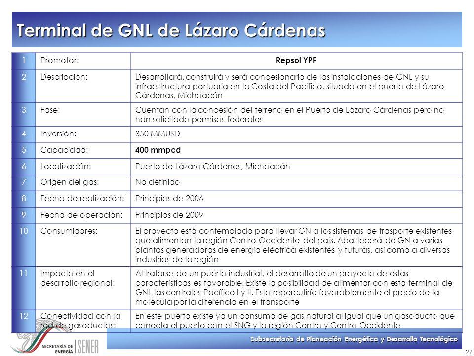 Subsecretaría de Planeación Energética y Desarrollo Tecnológico 27 Terminal de GNL de Lázaro Cárdenas 1Promotor: Repsol YPF 2Descripción:Desarrollará,
