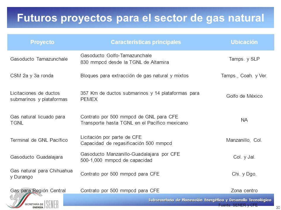 Subsecretaría de Planeación Energética y Desarrollo Tecnológico 30 Futuros proyectos para el sector de gas natural ProyectoCaracterísticas principales