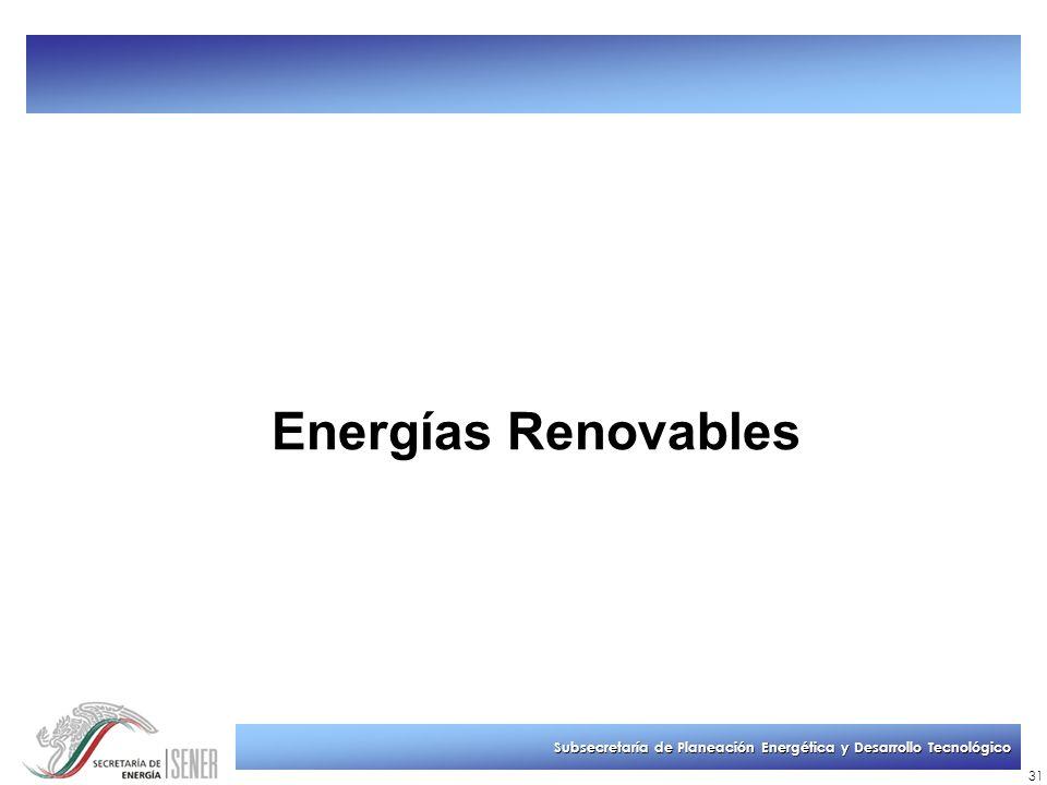 Subsecretaría de Planeación Energética y Desarrollo Tecnológico 31 Energías Renovables
