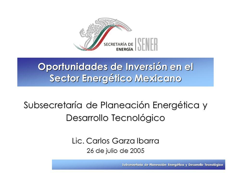 Subsecretaría de Planeación Energética y Desarrollo Tecnológico Oportunidades de Inversión en el Sector Energético Mexicano Subsecretaría de Planeació