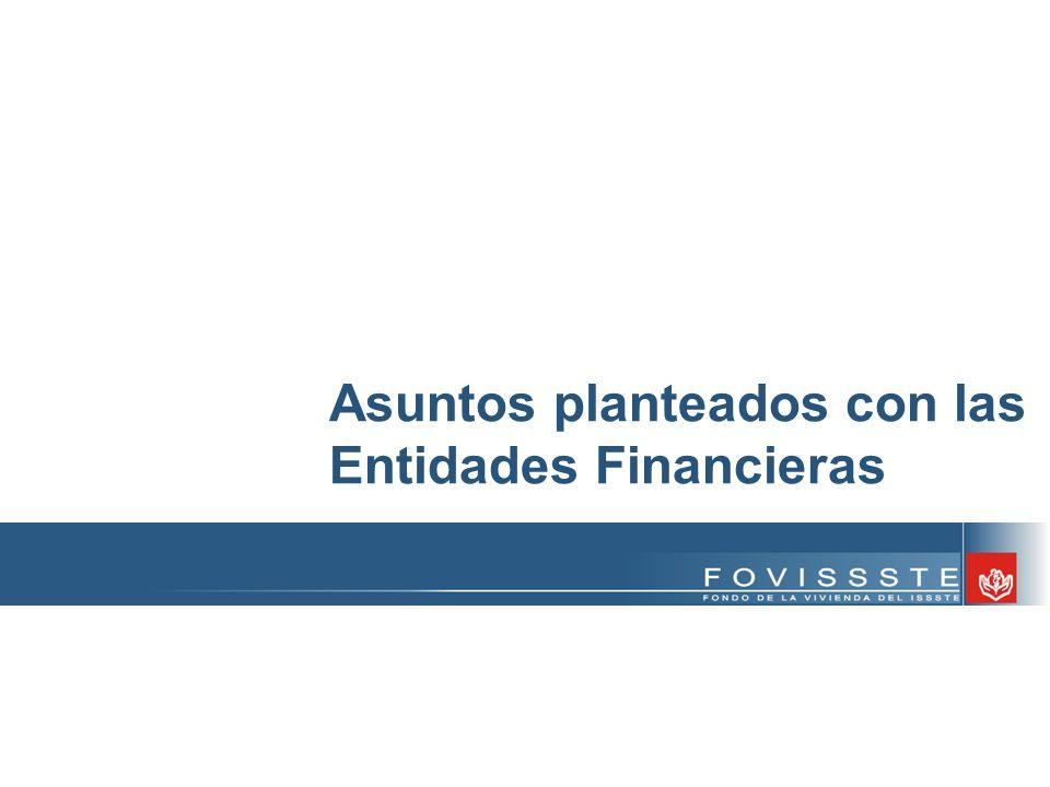 Asuntos planteados con las Entidades Financieras