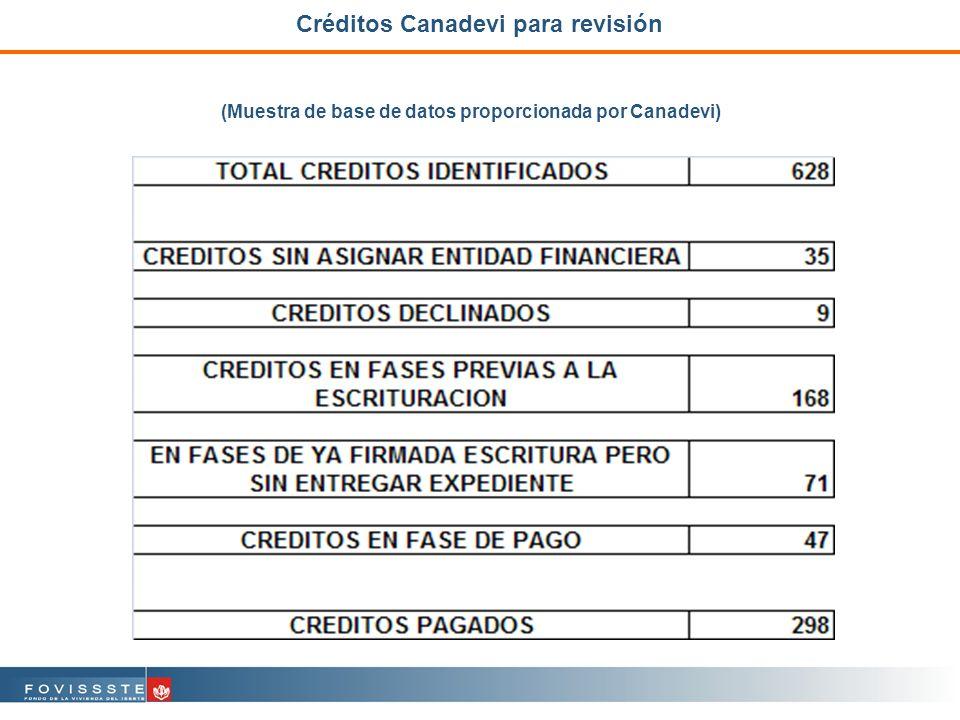 Créditos Canadevi para revisión (Muestra de base de datos proporcionada por Canadevi)