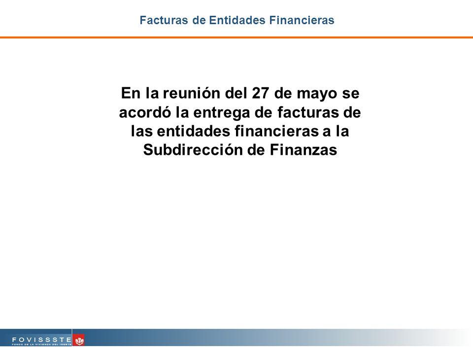 Facturas de Entidades Financieras En la reunión del 27 de mayo se acordó la entrega de facturas de las entidades financieras a la Subdirección de Finanzas