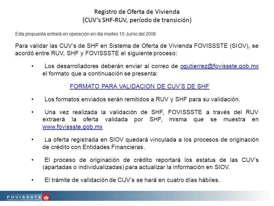 Registro de Oferta de Vivienda (CUVs SHF-RUV, período de transición) Esta propuesta entrará en operación en día martes 10 Junio del 2008 Para validar las CUVs de SHF en Sistema de Oferta de Vivienda FOVISSSTE (SIOV), se acordó entre RUV, SHF y FOVISSSTE el siguiente proceso: Los desarrolladores deberán enviar al correo de ogutierrez@fovissste.gob.mx el formato que a continuación se presenta:ogutierrez@fovissste.gob.mx FORMATO PARA VALIDACION DE CUVS DE SHF Los formatos enviados serán remitidos a RUV y SHF para su validación.