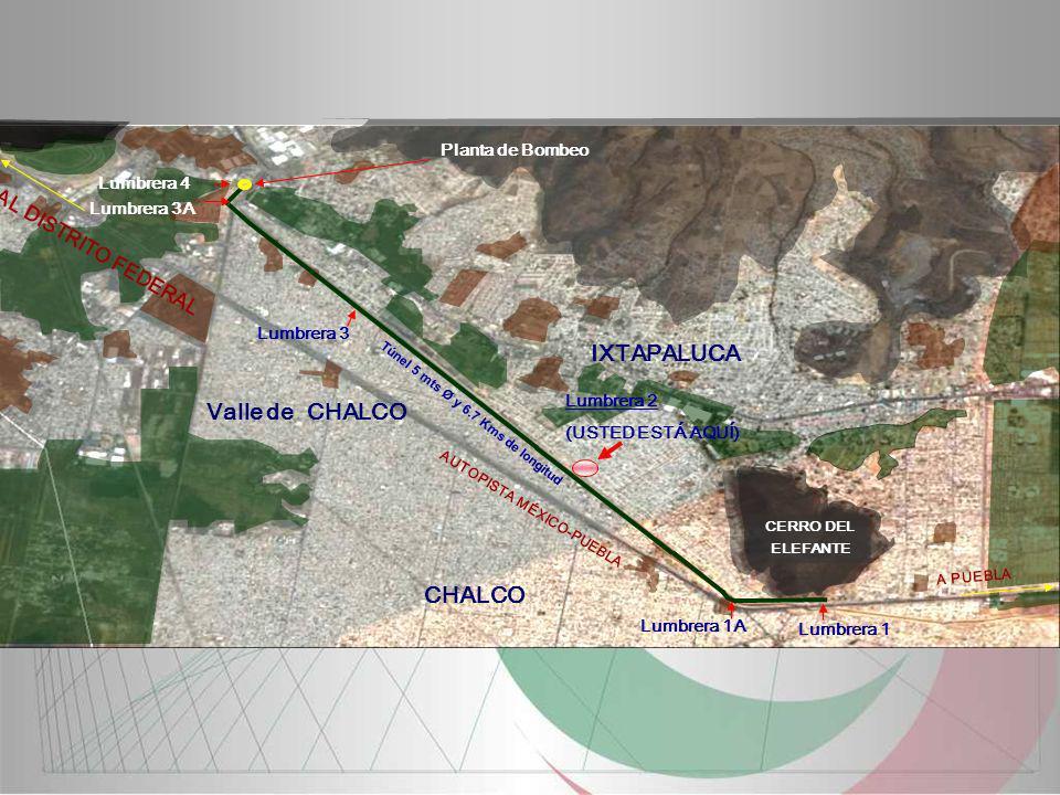 A PUEBLA CERRO DEL ELEFANTE AL DISTRITO FEDERAL Valle de CHALCO IXTAPALUCA AUTOPISTA MÉXICO-PUEBLA Lumbrera 1 CHALCO Lumbrera 1A Lumbrera 2 (USTED EST