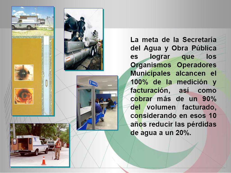 La meta de la Secretaría del Agua y Obra Pública es lograr que los Organismos Operadores Municipales alcancen el 100% de la medición y facturación, as