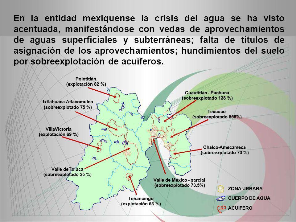 En la entidad mexiquense la crisis del agua se ha visto acentuada, manifestándose con vedas de aprovechamientos de aguas superficiales y subterráneas;