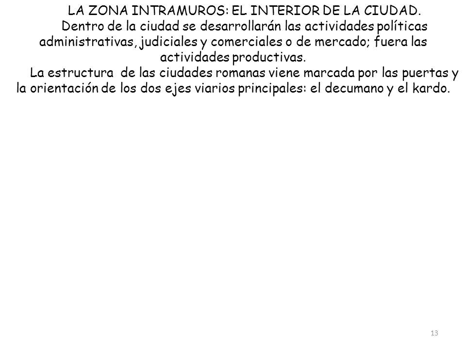 LA ZONA INTRAMUROS: EL INTERIOR DE LA CIUDAD. Dentro de la ciudad se desarrollarán las actividades políticas administrativas, judiciales y comerciales
