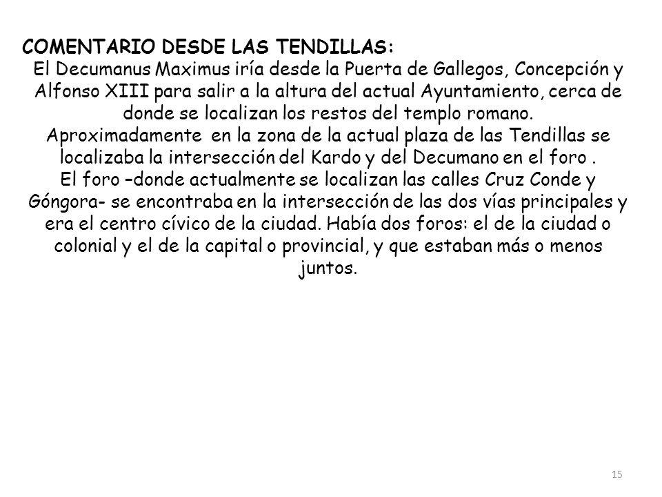 COMENTARIO DESDE LAS TENDILLAS: El Decumanus Maximus iría desde la Puerta de Gallegos, Concepción y Alfonso XIII para salir a la altura del actual Ayu
