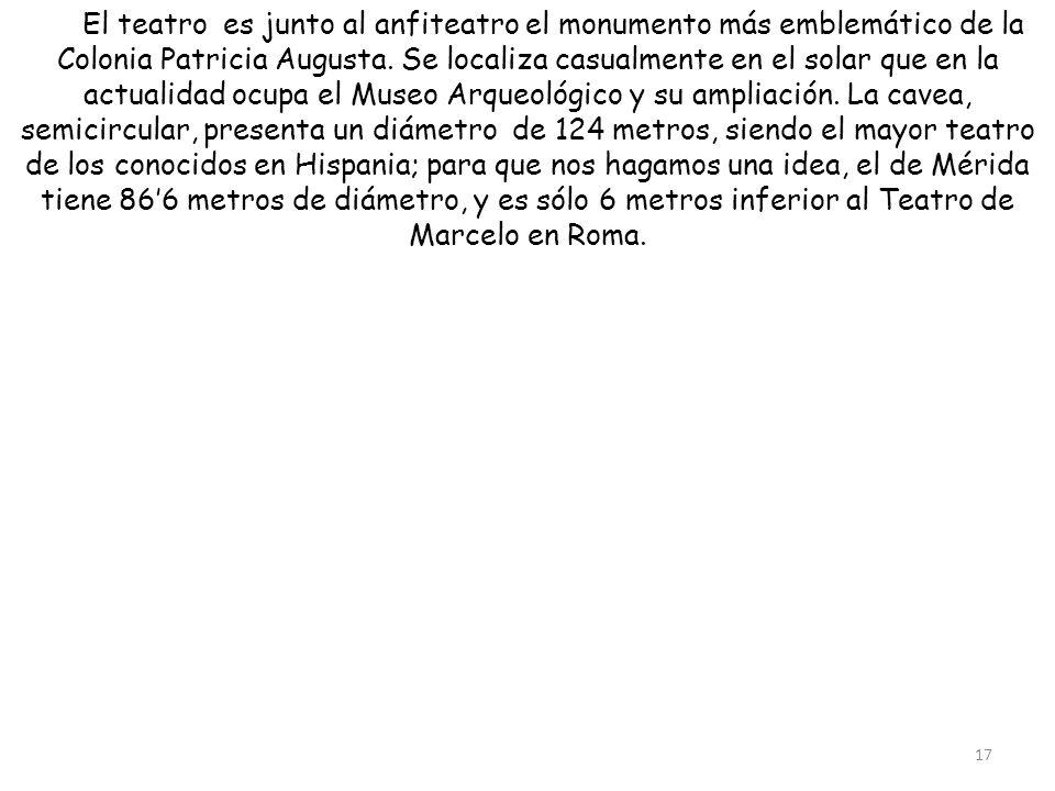 El teatro es junto al anfiteatro el monumento más emblemático de la Colonia Patricia Augusta. Se localiza casualmente en el solar que en la actualidad