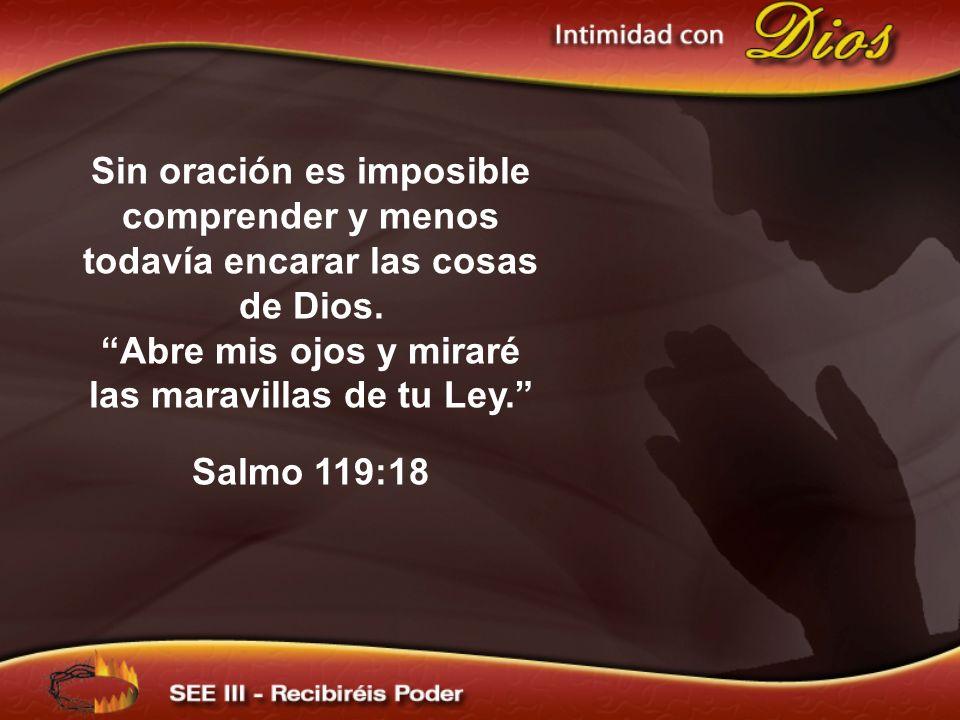 Sin oración es imposible comprender y menos todavía encarar las cosas de Dios. Abre mis ojos y miraré las maravillas de tu Ley. Salmo 119:18