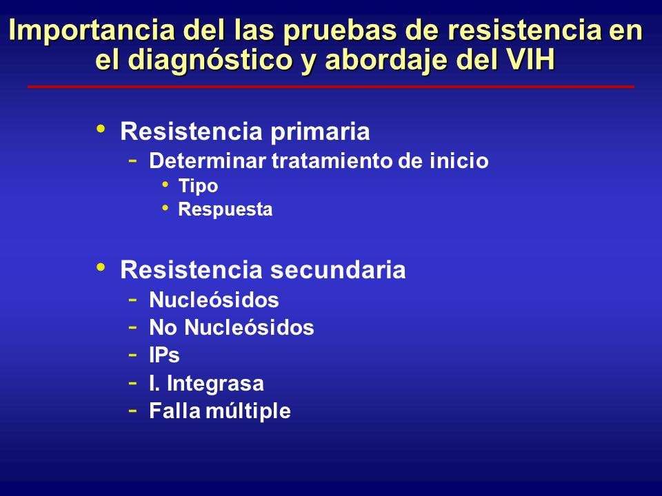 Resistencia Primaria 1 XIII IHDRW, Tenerife, June 2004; 2 Wensing AMJ, XII IHDRW, June 2003, #117; 3 Delfraissy JF, Rapport 2004 % de nuevas infecciones por VIH con resistencias primarias USA: ~10% 1 Canada ~8.5% 1 Europe:~11 2 * UK: ~18 1 Mexico: ~7% 1 Australia: ~13 1 France: ~12 3 Spain: ~9.5 1 Argentina 7-15% Brazil 0-30%