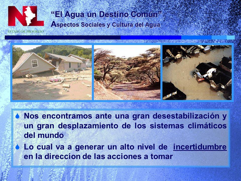 El Agua un Destino Común A spectos Sociales y Cultura del Agua El principal reto urbano relacionado con el agua sigue siendo el de asegurar un suministro adecuado de agua y saneamiento.