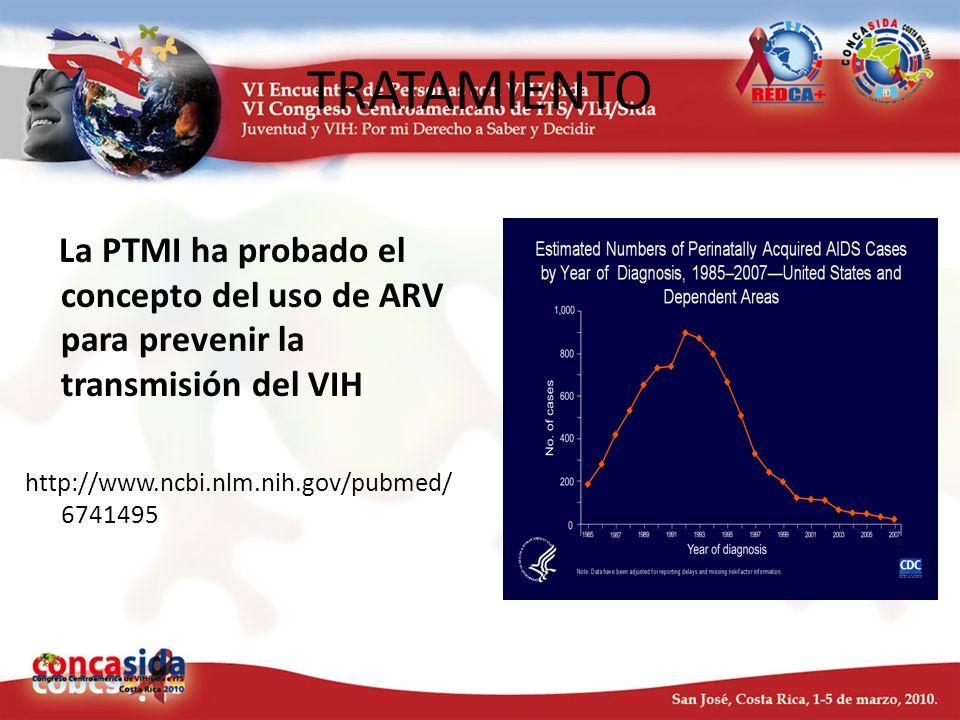 TRATAMIENTO La PTMI ha probado el concepto del uso de ARV para prevenir la transmisión del VIH http://www.ncbi.nlm.nih.gov/pubmed/ 6741495